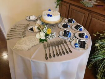 Small tiered wedding cake and table