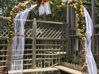 Wedding arbor on outside deck