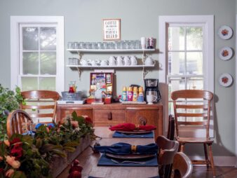 View of te dining room table and coffee/tea bar